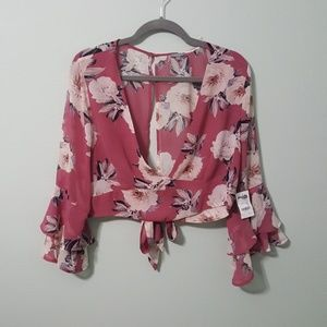 Charlotte Russe NWT cropped blouse Size XL Pink